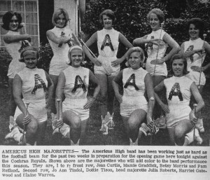 ATR File Photo:   No football game would be complete without talented half-time performers. This photo from August 1975, shows the the Americus High School majorettes, who accompanied the band to the field during half-time to entertain the crowd.