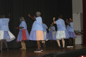 The Denim Divas dance group from the Buena Vista Senior Center entertained with several numbers.