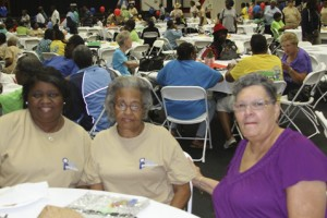 Barbara Williams, at left, brought her mother Annie Nelson, center, of Americus to the Senior Fall Festival. Shown at right is Doris Briggs, also of Americus.