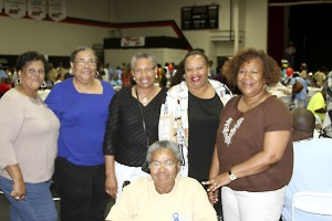 From left are friends Carol Hollis, Gail German, Eloise Paschal, Kay Carter and Linda Coley; seated is Annie Bouldin.