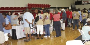 Vendors lined the walls offering free information to attendees.