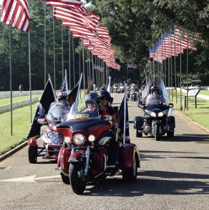 Members of the Ride Home enter Andersonville National Cemetery on Friday morning, National POW-MIA Recognition Day.