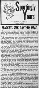 "This edition of Graddick's ""Sportingly Yours"" column from September 10, 1965 gives details on the Panthers' yet-to-be-played match against the Bainbridge Bearcats."