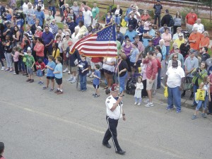 The American flag always has a place on honor in the parade.
