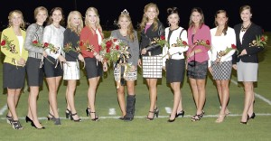 Southland Academy's Homecoming Court is composed of Freshman Kara Hubbard, Freshman Sydney Payne, Sophomore Sydney Hayes, Junior Sydney Copeland, Senior Kaleigh Hernandez, Homecoming Queen Senior Chris Shattles, Senior Hannah Teasley, Senior Olivia Payne, Junior Abby Dent, Sophomore Kathleen Kinslow and Sophomore Karson Duke.