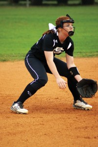 Photo by Tammy Satterfield Schley shortstop, Bailey McClaine, prepares to scoop up a grounder in an early October match.