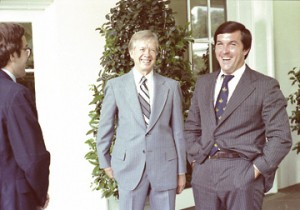 Hamilton Jordan, at right, with President Jimmy Carter at the White House.