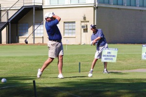 Michael Murray/Americus Times-Recorder:   A member of the team representing Georgia Power tees off on hole number one at the GSW President's Classic Golf Tournament on Oct. 16.