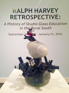 Michael Murray/Americus Times/Recorder:   Upon entering the gallery, visitors to the retrospective are greeted by a perfect example of Harvey's playful, yet powerful aesthetic that is evident in his glass work.