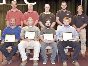 Seated, are SGTC Student of Excellence nominees Ricardo Rivera, Colton Smith, Curtis Duckworth and Joseph Reid. Standing, from left, are nominating instructors Glynn Cobb, Mike Collins, Phil Deese, Ted Eschmann and Gil Pittman.