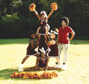 """Submitted Photo: Members of the 7-8 year-old """"FSU Seminoles"""" cheerleading team pose prior to the Nov. 14 tournament."""
