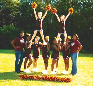 """Submitted Photo: Members of the 9-12 year-old """"FSU Seminoles"""" cheerleading team pose prior to the Nov. 14 tournament."""