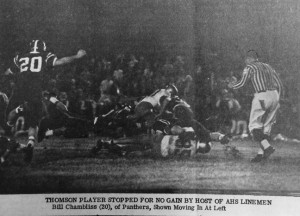 """ATR File Photo:   This photo, from the Nov. 27, 1965 edition of the Times-Recorder shows a Thomson player getting tackled by several Panthers.The original caption reads: """"Thomson player stopped for no gain by host of AHS linemen. Bill Chambliss (20), of Panthers, shown moving in at left."""""""