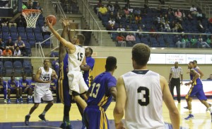 Michael Murray/Americus Times-Recorder:   GSW's Jure Gunjina takes it to the hole during the first half of GSW's season opener against FVSU in Americus.
