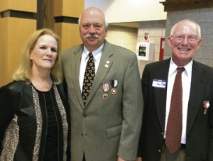State Rep. Tommy Benton, R-Jefferson, and his wife Karen with James Gaston, at right, chairman of the Capt. Henry Wirz Memorial Committee of the Alexander H. Stephens Camp, Sons of Confederate Veterans.