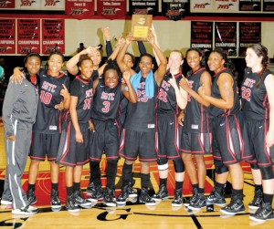 Submitted by South Georgia Technical College:   This photo, from the March 13, 2015 edition of the Times-Recorder shows the SGTC Lady Jets celebrating after defeating Denmark Tech in the NJCAA District J Championship game. With the victory, the Lady Jets earned the right to advance to the NJCAA National Tournament in Salina, Kansas.