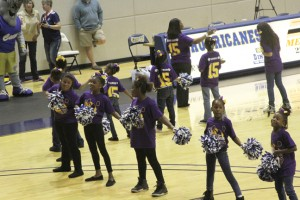"""Michael Murray/Americus Times-Recorder:   Members of Sumter County Elementary School's dance team entertained the crowd during the half-time break of the Hurricanes' Dec. 14 contest against Emmanuel College. Dec. 14 was """"Sumter County Elementary Education Day"""" at the Storm Dome in Americus."""