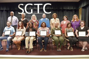 From left, seated, are SGTC Student of Excellence nominees Nathan Tanner, Nickie McMillan, Ryshanna Brown, Corcynthia Monts, Kristina Harp, Kanisha Ellis, and Shelby Smith. Standing, from left, are nominating instructors Walter Dennard, Dorothea Lusane-McKenzie, Teresa McCook, Ricky Watzlowick, Angeli Smith, Diana Skipper and Jennifer Childs.