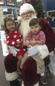 Santa Claus with McKenlee and Kamden Guerrero.