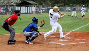 Michael Murray/Americus Times-Recorder:   This photo, from the March 30, 2015 edition of the Times-Recorder shows Southland first-baseman, Hunter Weldon, taking a powerful swing during a contest between the Raiders and the Terrell Academy Eagles. At the time this photo was taken, Weldon had already signed a letter of intent to attend Berry College on a football scholarship in 2015-16.