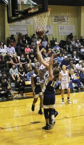 Michael Murray/Americus Times-Recorder:   Macy Williams (21) shoots a basket during the Lady Raiders' Jan. 8 contest against the Tiftarea Lady Panthers. Williams contributed five points to the Lady Raiders' cause in the match.