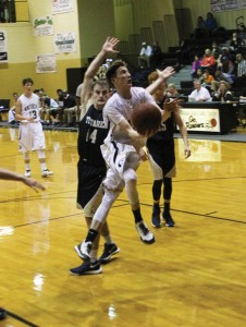 Michael Murray/Americus Times-Recorder:   Ridge Roland approaches the basket during the final quarter of the Raiders' Jan. 8 contest against the Tiftarea Panthers. Roland contributed eight points to the Raiders' 56-32 win over Tiftarea.