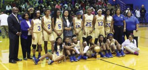 Michael Murray/Americus Times-Recorder: The SCMS Lady Panthers pause for a photo with the trophy after winning the Deep South Conference championship in Americus on Jan. 25.