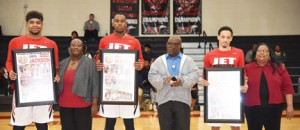 Submitted by SGTC:   Jets sophomores, Corbyn Jackson, Demario Beck, and Clarence Smith are shown above with family and SGTC faculty and staff.