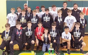 Photo by Jeremy Kennedy:   Southland Academy's middle school wrestling team poses with their award after taking second place at the region tournament in Dublin.