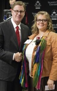 Shown are Cecil P. Staton, Ph.D., interim president of VSU, and Laura Gerlach, a VSU alumna and Georgia Teacher of the Year finalist in 2011.