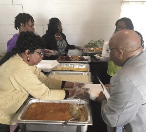 The serving line at the recent Community Prayer Brunch hosted by Freedom Harvest Worship Center for the citizens of Leslie and DeSoto.