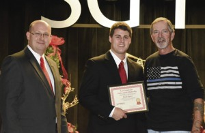 Brock Turner, center, was awarded the Lou Crouch Law Enforcement Scholarship at SGTC recently.
