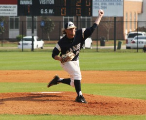 Michael Murray/Americus Times-Recorder: GSW starting pitcher, Dylan Brown, launches a fastball down the middle during the first inning of the 'Canes' March 23 tilt.