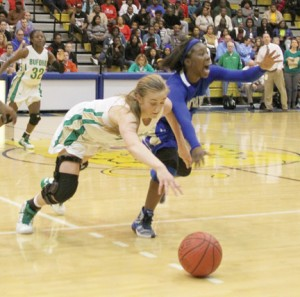 Michael Murray/Americus Times-Recorder:   Atyanna Gaulden scrambles for control of a loose ball during the Lady Panthers' semifinal match against Buford on Feb. 27.