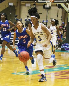 Michael Murray/Americus Times-Recorder:   ASHS' Jykiera Long follows a steal with a fast break during the first half of the Lady Panthers' state championship match in Macon on March 3. Long scored 12 points in the contest.