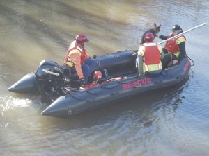 Members of the K-9 team launch into the Muckalee Creek.