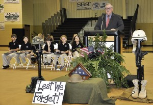 Dr. Douglas R. Joyner of Americus was featured speaker at the annual Salute to Veterans program hosted by the Lower School at Southland Academy.