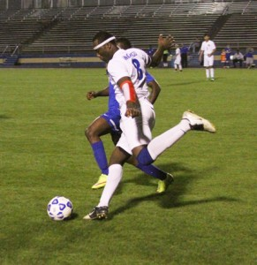 Michael Murray/Americus Times-Recorder: Arize Anagbogu rears back to boot the ball down field during an early April contest in Americus. Anagbogu contributed a goal to the Panthers' April 12 victory over Cook County.
