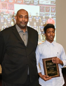 Submitted by SGTC:    Travis Garrett, head coach of the Jets is shown above after presenting an award to Rico Simmons, MVP for 2015 -16 Jets.