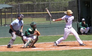 Michael Murray/Americus Times-Recorder: Harrison Bell collects a hit for the Raiders during an early April contest in Americus. Bell batted three for four and brought in two RBIs in the Raiders' upset of the Valwood Valiants.