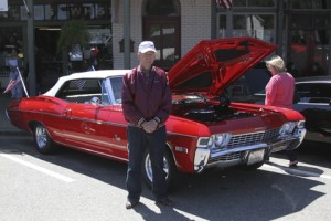 David Aten, of Wildwood, Fla., brought his convertible 1968 Chevrolet Impala to display at the Plains Car Show on April 11.