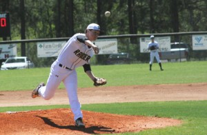 Michael Murray/Americus Times-Recorder: Southland Academy pitcher, Reed Dillard, turns up the heat during an early April contest in Americus. Dillard pitched a complete game in the Raiders' upset of Valwood on April 12.