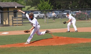 Michael Murray/Americus Times-Recorder:   Southland Academy's Reed Dillard does work on the mound for the Raiders during the team's season-closing double-header against the Westwood Wildcats in Americus on April 29. Dillard recorded eight strike-outs in the match.