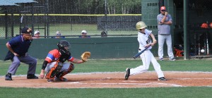 Michael Murray/Americus Times-Recorder:   Southland Academy's Will Hubbard takes a powerful swing during game one of the Raiders' April 25 double-header against Westwood. Hubbard contributed one RBI to the Southland cause during that contest.