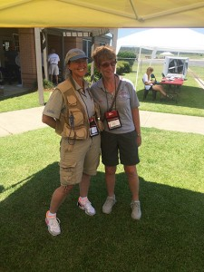 """Michael Murray/Americus Times-Recorder:   Members of """"Team Wild Mama"""" take a break at the Jimmy Carter Regional Airport after making their fly by on the morning of June 23 in Americus.Terry Carbonell is pictured at left, and Ellen Herr, at right."""