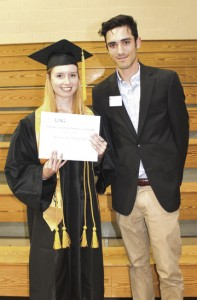 Karissa Campbell is the recipient of the $1,000 Hannah A. Hasting Memorial Scholarship from the University of North Georgia. She is shown with UNG Admissions Officer Michael Stone.