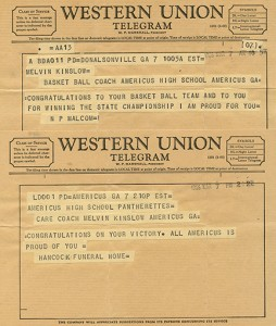 Submitted by Melvin Kinslow:   This telegram, congratulating Melvin Kinslow on the Pantherettes' state title, is just one example of the outpouring of support from the community that the Pantherettes received after their victory.