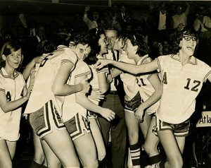Submitted by Melvin Kinslow:   Members of the 1966 Pantherettes celebrate their state championship victory after taking down Cochran for the title on March 5, 1966 in Macon.
