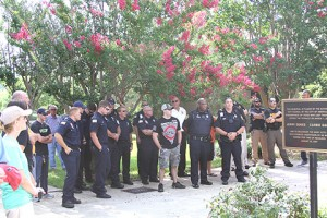 All law envorcement, firefighters and EMS personnel present were asked to stand in the shade and be thanked by the rally attendees.