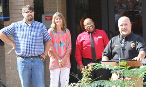 From left are the Rev. Chris Wooden, organizer Gail Wall, the Rev. Matt Wright, and the Rev. Bud Womack.
